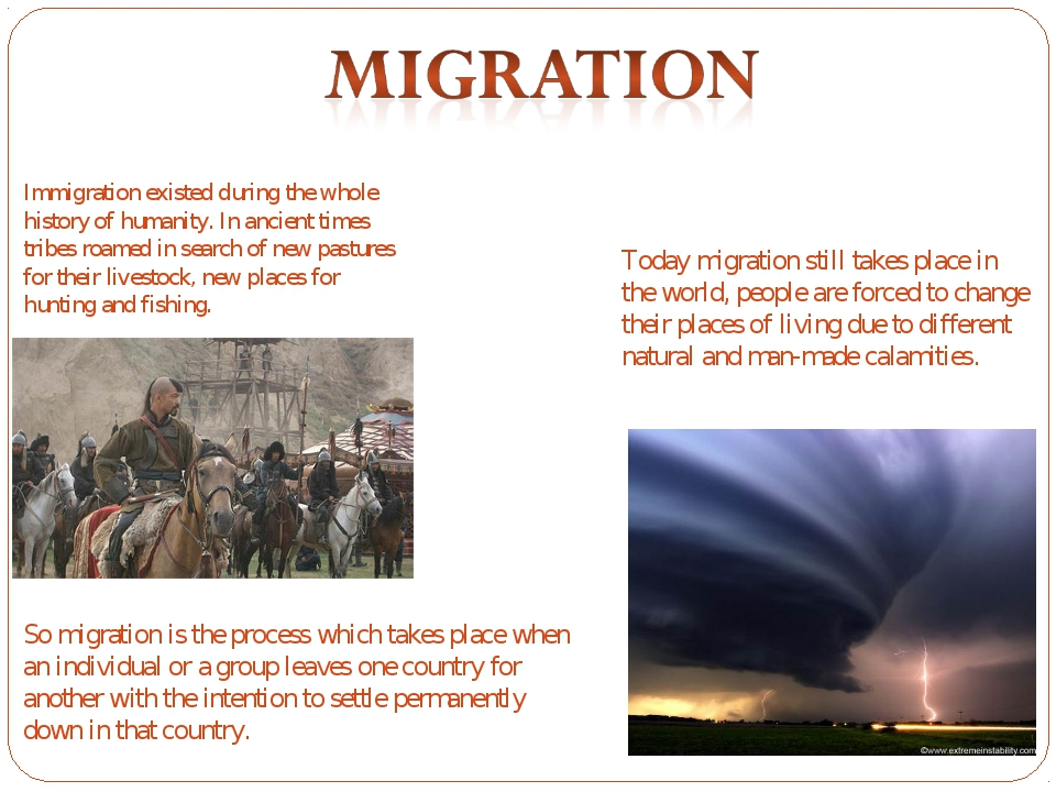 Immigration existed during the whole history of humanity. In ancient times tr...