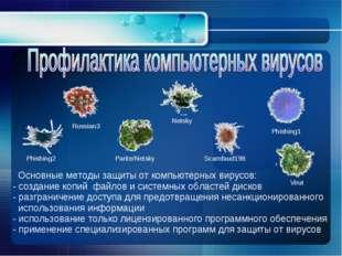 Основные методы защиты от компьютерных вирусов: - создание копий файлов и си