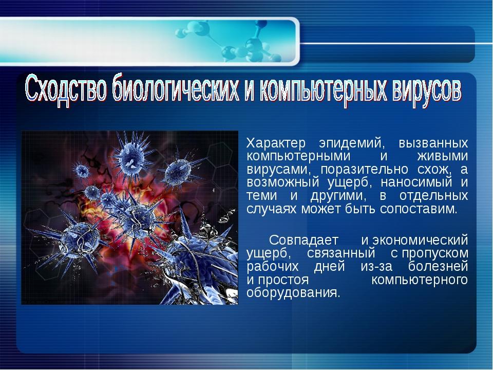 Характер эпидемий, вызванных компьютерными и живыми вирусами, поразительно с...