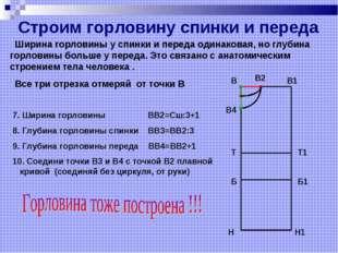 Все три отрезка отмеряй от точки В 7. Ширина горловины ВВ2=Сш:3+1 8. Глубина