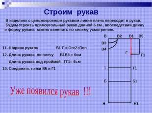 11. Ширина рукава В1 Г = Оп:2+Поп 12. Длина рукава по плечу В1В5 = 6см Длина
