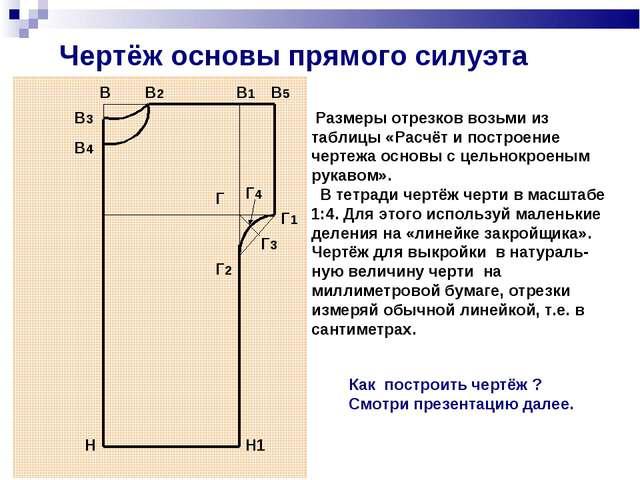 Чертёж основы прямого силуэта В В2 В1 В5 В4 В3 Г Г1 Г2 Г4 Г3 Н Н1 Размеры отр...
