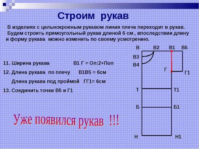 11. Ширина рукава В1 Г = Оп:2+Поп 12. Длина рукава по плечу В1В5 = 6см Длина...