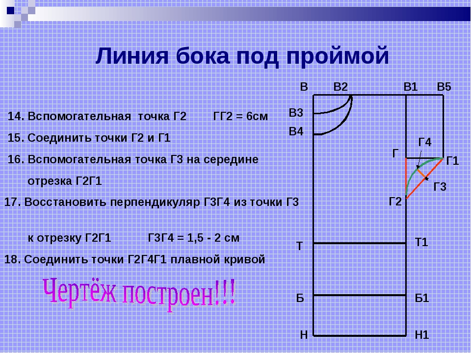 14. Вспомогательная точка Г2 ГГ2 = 6см 15. Соединить точки Г2 и Г1 16. Вспом...