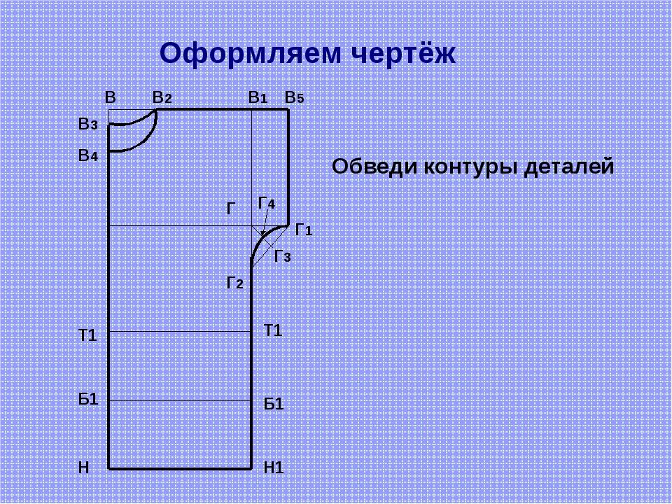Оформляем чертёж В В2 В1 В5 В4 В3 Г Г1 Г2 Г4 Г3 Н Н1 Обведи контуры деталей...