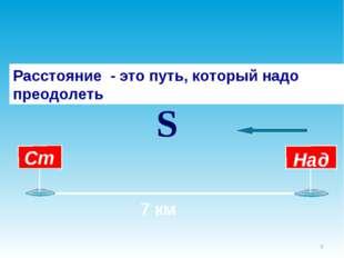 * 7 км Расстояние - это путь, который надо преодолеть S
