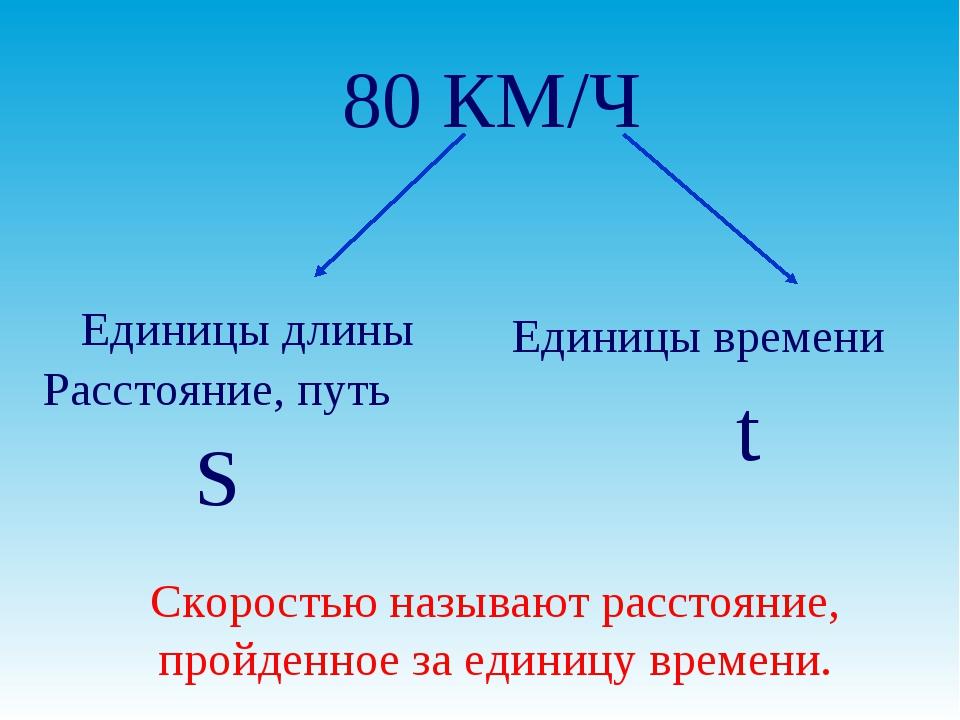 80 КМ/Ч Единицы длины Единицы времени Расстояние, путь S t Скоростью называют...