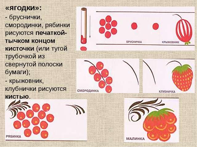 «ягодки»: - бруснички, смородинки, рябинки рисуются печаткой-тычком концом ки...