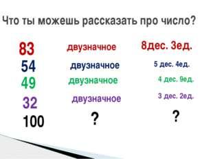 Что ты можешь рассказать про число? 83 двузначное 8дес. 3ед. 54 двузначное 5