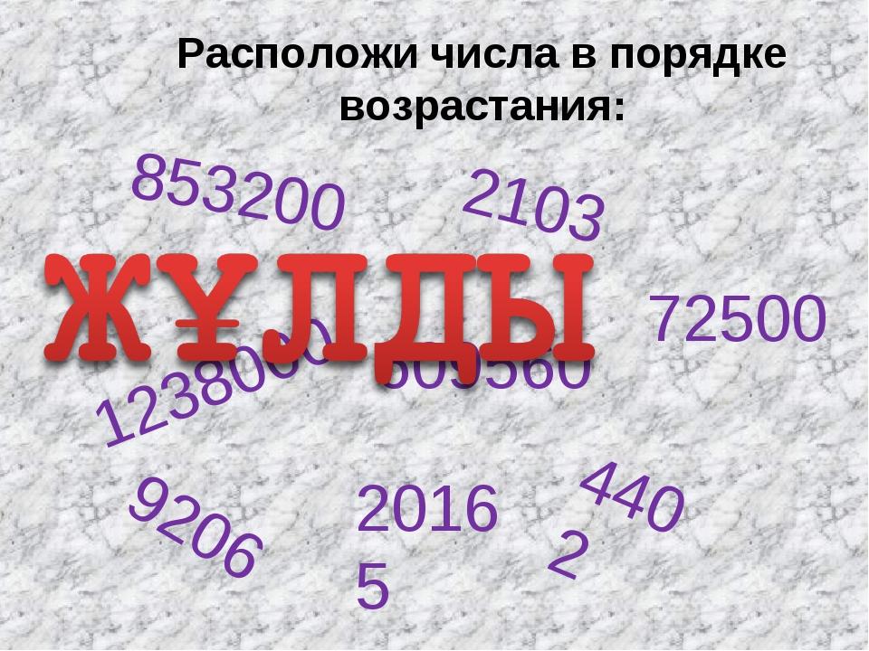 1238000 2103 609560 72500 4402 20165 853200 9206 Расположи числа в порядке во...