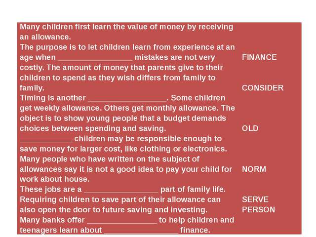 Many children first learn the value of money by receiving an allowance. The...