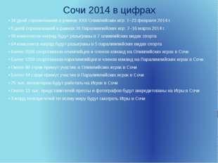 Сочи 2014 в цифрах • 16 дней соревнований в рамках XXII Олимпийских игр: 7–23
