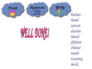 Food Body butter head carrot eleven hand fifteen cheese teeth twenty neck Num