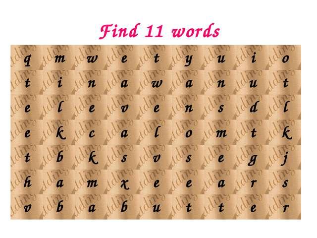Find 11 words qmwetyuio tinawanut elevensdl ekcal...