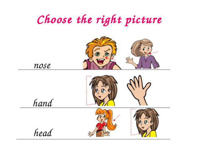 Choose the right picture nose hand head