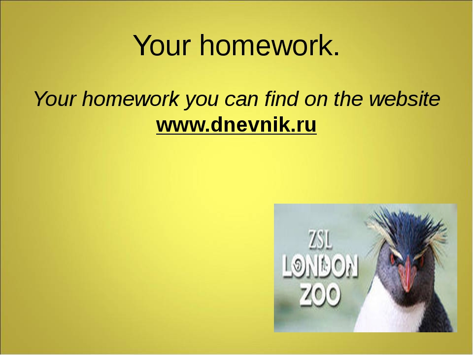 Your homework. Your homework you can find on the website www.dnevnik.ru