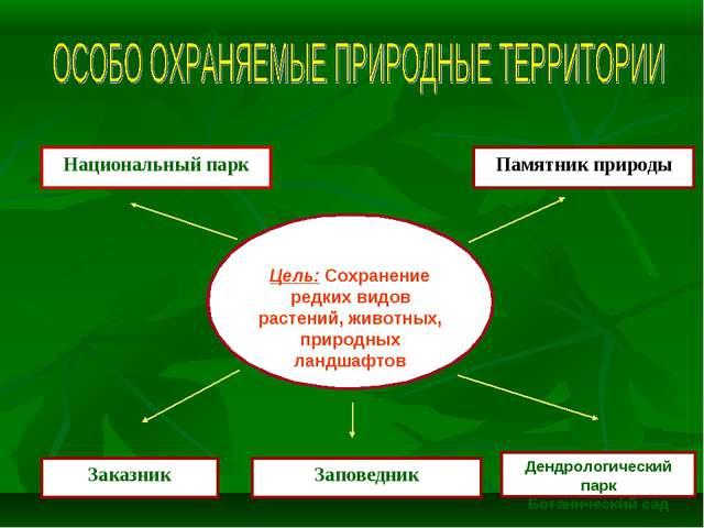 Цель: Сохранение редких видов растений, животных, природных ландшафтов