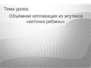Тема урока: Объёмная аппликация из жгутиков «веточка рябины».