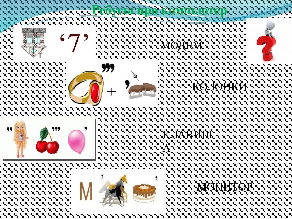Ребусы про компьютер МОДЕМ КЛАВИША КОЛОНКИ МОНИТОР