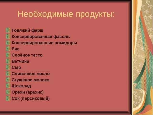 Необходимые продукты: Говяжий фарш Консервированная фасоль Консервированные п...