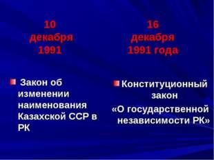 Конституционный закон «О государственной независимости РК» Закон об изменении