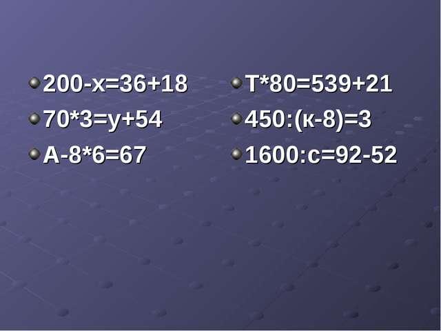 200-х=36+18 70*3=у+54 А-8*6=67 Т*80=539+21 450:(к-8)=3 1600:с=92-52