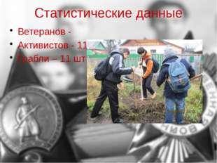 Статистические данные Ветеранов - Активистов - 11 Грабли – 11 шт