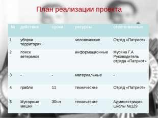 План реализации проекта № действия сроки ресурсы ответственные 1 уборкатеррит