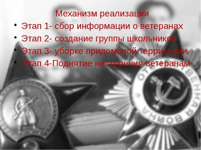 Механизм реализации Этап 1- сбор информации о ветеранах Этап 2- создание груп...