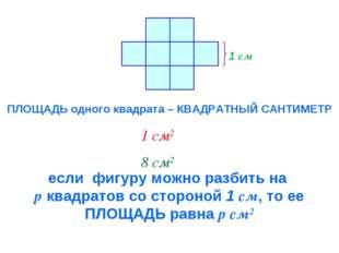 1 см ПЛОЩАДЬ одного квадрата – КВАДРАТНЫЙ САНТИМЕТР 1 см2 8 см2 если фигуру м