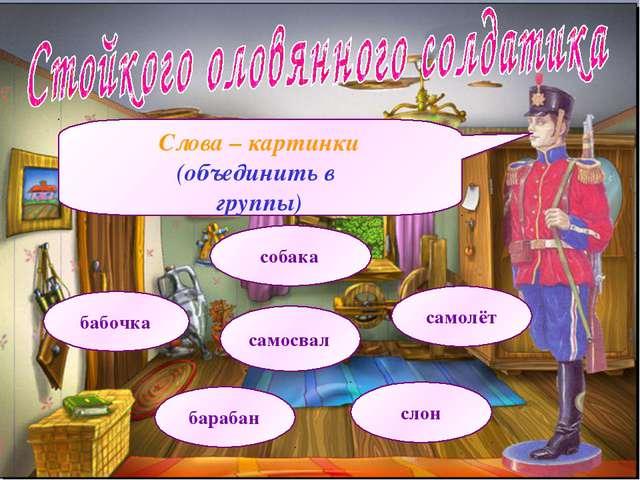 Слова – картинки (объединить в группы) бабочка собака барабан самолёт слон са...