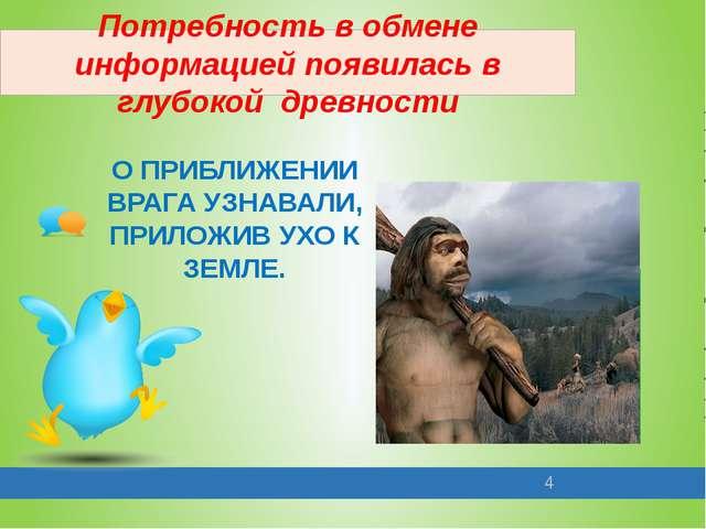 Потребность в обмене информацией появилась в глубокой древности О ПРИБЛИЖЕНИИ...