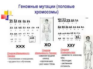 Геномные мутации (половые хромосомы) Синдром Шерешевского-Тернера: - отклоне