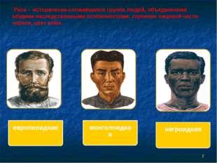 Раса - исторически сложившаяся группа людей, объединенная общими наследствен