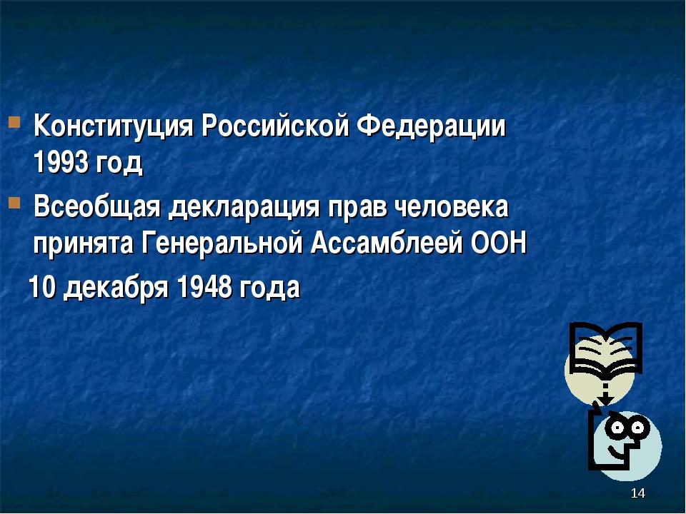 Конституция Российской Федерации 1993 год Всеобщая декларация прав человека...
