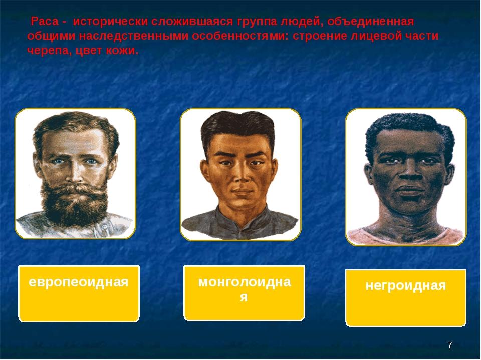 Раса - исторически сложившаяся группа людей, объединенная общими наследствен...