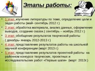 1 этап: изучение литературы по теме, определение цели и задач работы (май-