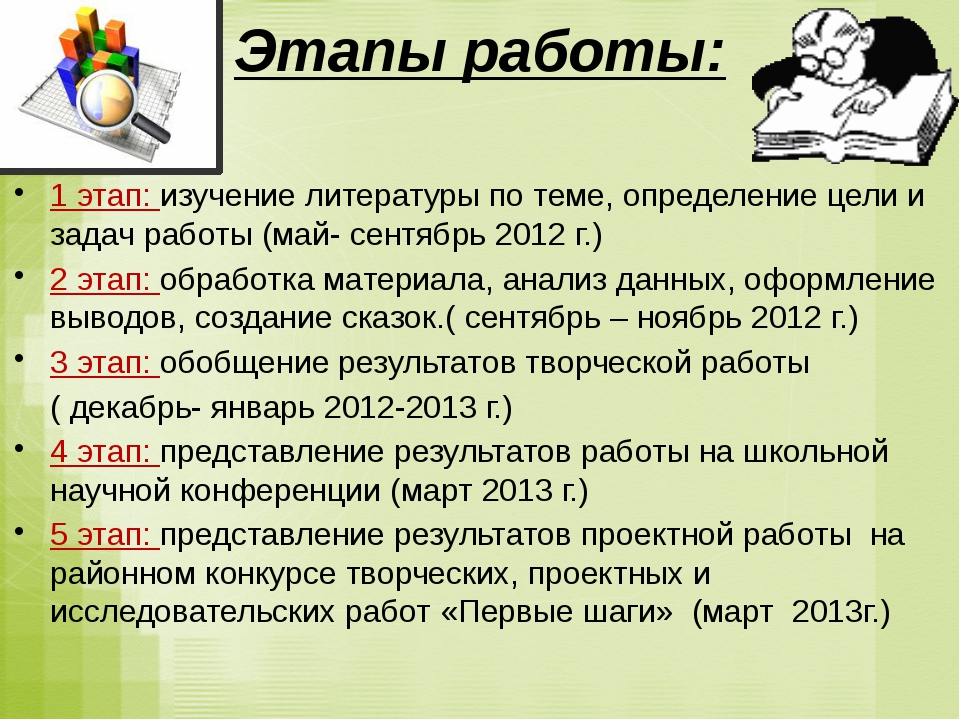 1 этап: изучение литературы по теме, определение цели и задач работы (май-...