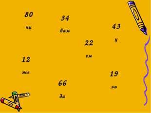 12 же 43 у 66 да 80 чи 19 ла 22 ем 34 вам