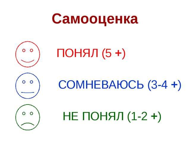 Самооценка ПОНЯЛ (5 +) СОМНЕВАЮСЬ (3-4 +) НЕ ПОНЯЛ (1-2 +)