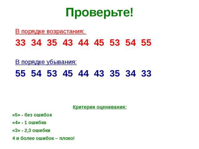 Проверьте! Критерии оценивания: «5» - без ошибок «4» - 1 ошибка «3» - 2,3 оши...