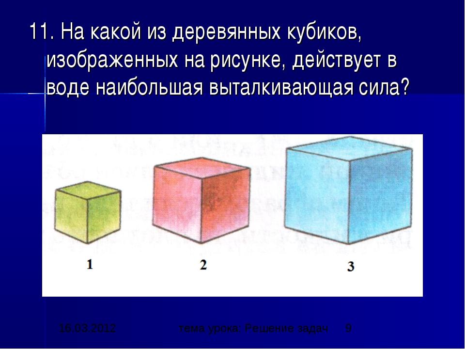 11. На какой из деревянных кубиков, изображенных на рисунке, действует в воде...