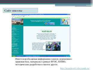Электронная почта school6@strj.tomsk.su Обеспечивает оперативное управление у