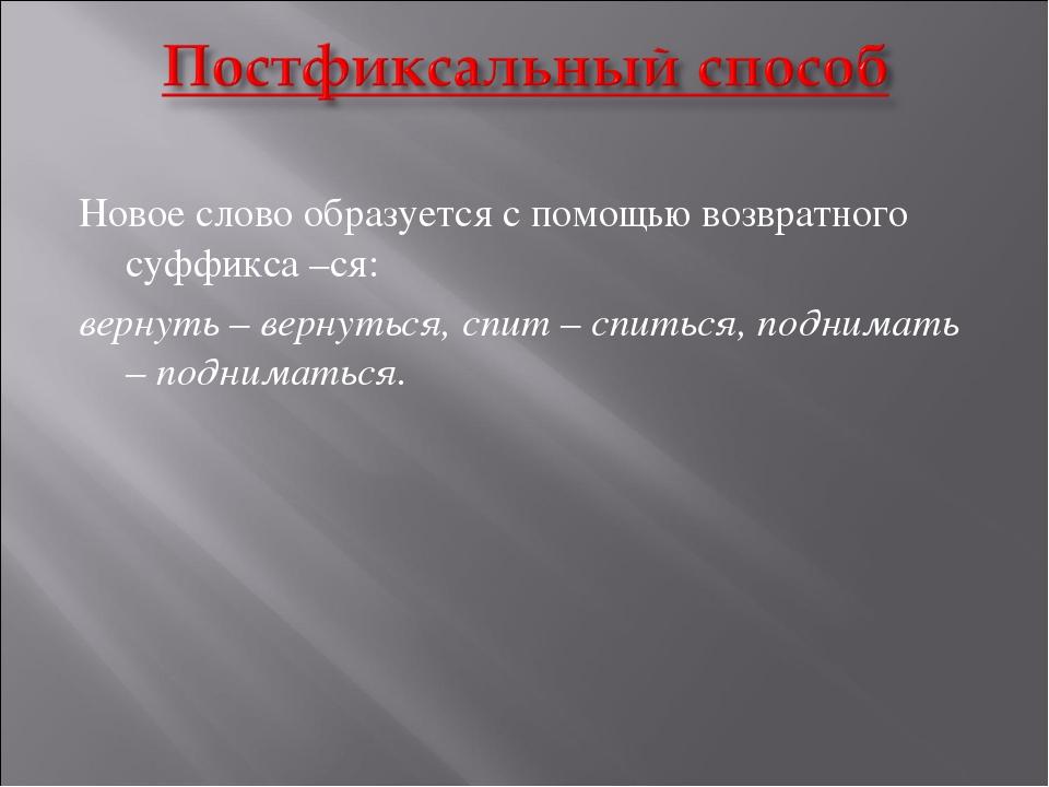 Новое слово образуется с помощью возвратного суффикса –ся: вернуть – вернутьс...