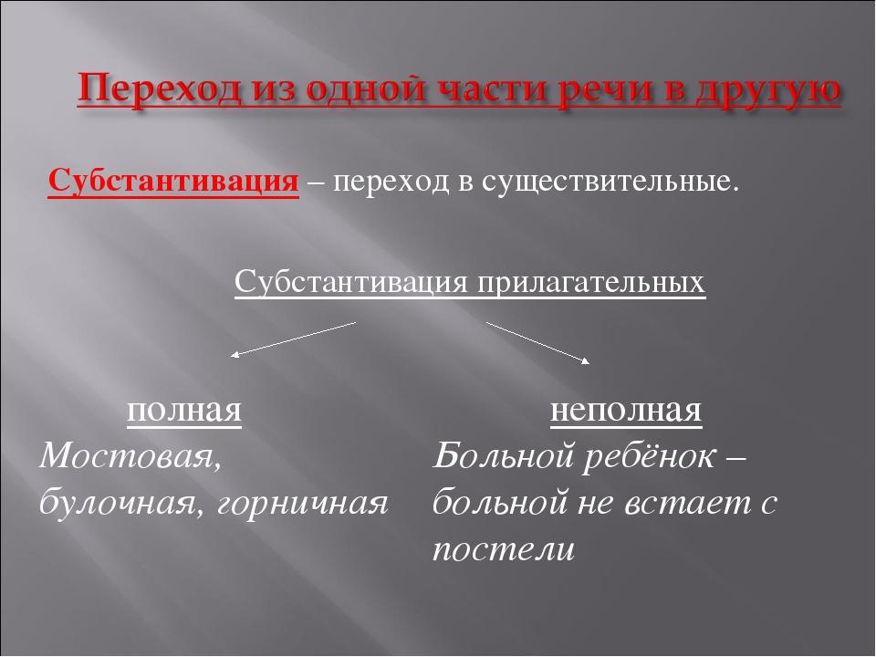 Субстантивация – переход в существительные. Субстантивация прилагательных п...
