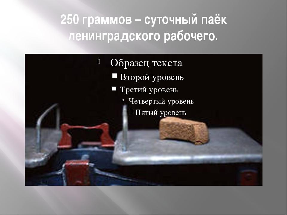 250 граммов – суточный паёк ленинградского рабочего.