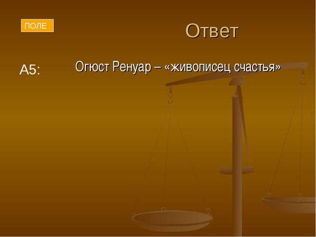 Ответ Огюст Ренуар – «живописец счастья» ПОЛЕ А5:
