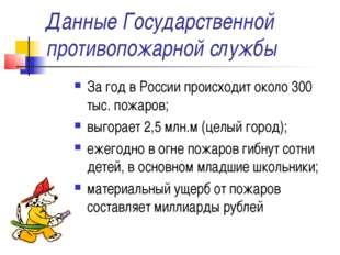 Данные Государственной противопожарной службы За год в России происходит окол