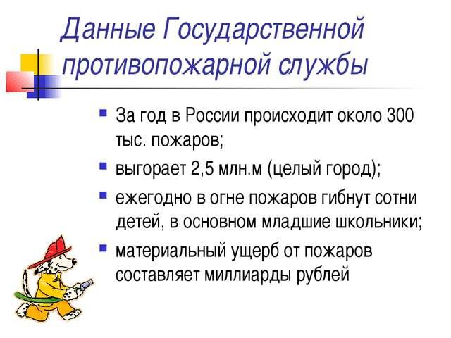 Данные Государственной противопожарной службы За год в России происходит окол...