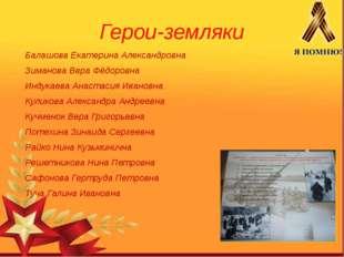 Герои-земляки Балашова Екатерина Александровна Зиманова Вера Фёдоровна Индука